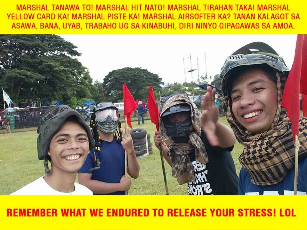 It's not easy serving as marshal at an airsoft tournament. (Photo grabbed from Iligan Daltan's facebook account).